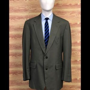 Brooks Brothers Men 2 Button Blazer 43L Gray Olive